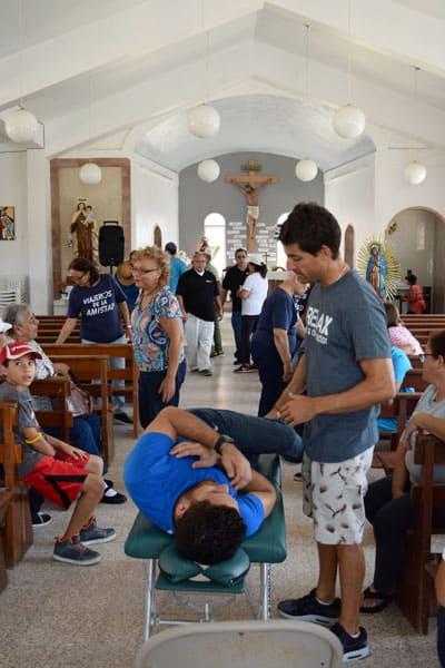 La Iglesia de Nuestra Señora del Carmen en Punta Santiago fue convertida en consultorio médico después del huracán.  (Jorge Domínguez-López/Puerto Rico)