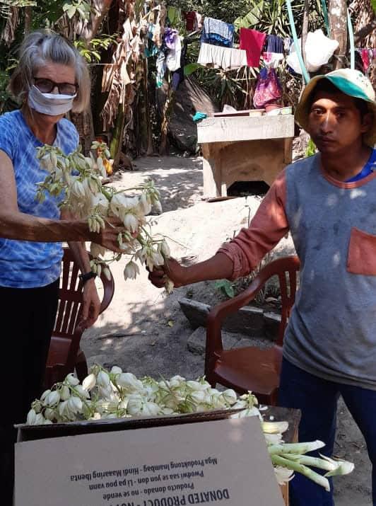 llevando alimentos durante cuarentena en El Salvador: Como agradecimiento, David Luna le da a Ann un poco de Flor de Izote, la flor nacional de El Salvador, que crece en yuca gigante (Cortesía de Ann Greig / El Salvador).