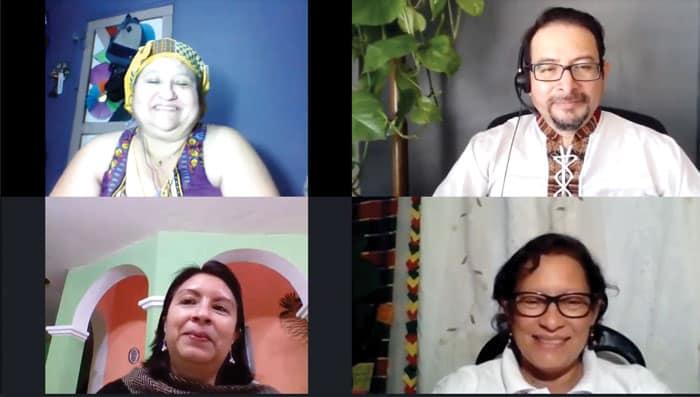 El Diácono Leonel Yoque, coordinador del Ministerio Hispano de los Padres y Hermanos Maryknoll, creando puentes de fe en videoconferencia con líderes laicas de Centroamérica.
