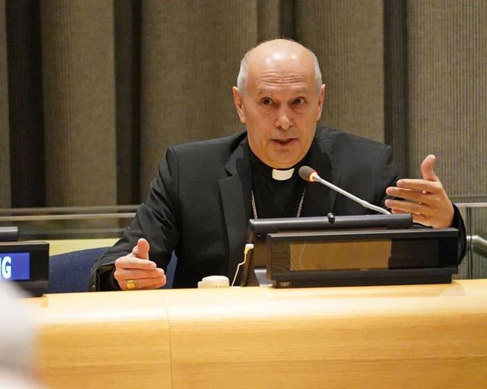 El arzobispo Gabriele Caccia, observador permanente del Vaticano ante las Naciones Unidas, habla en la ONU en la ciudad de Nueva York el 27 de enero de 2020 (Foto CNS/Gregory A. Shemitz)