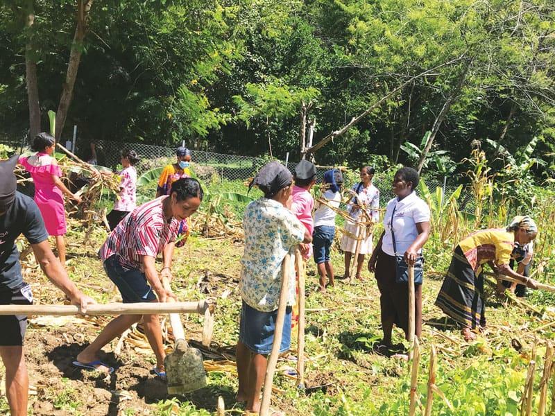 La misionera Susan Wanzagi (polo blanco) se une al grupo de mujeres para limpiar su maizal después de cosechar para alimentar a sus familias y vender la cosecha sobrante. (Cortesía de Susan Wanzagi)